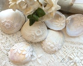 75 Beach Decor Scattering Seashells Vintage Lace Covered Shells for Beach Seaside Cottage Natural Elegant Boho Wedding Decorations