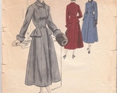 Vintage Sewing Pattern Ladies' Coat 1940's Vogue Couturier Design 448 - Free Pattern Grading E-book Included