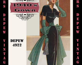 Vintage Sewing Pattern 1940's Cocktail or Evenning Gown in Any Size - PLUS Size Included - Depew 4922 -INSTANT DOWNLOAD-