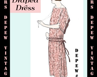 Vintage Sewing Pattern Instructions 1920's Flapper Easy Draped Dress Ebook Depew 3035 -INSTANT DOWNLOAD-