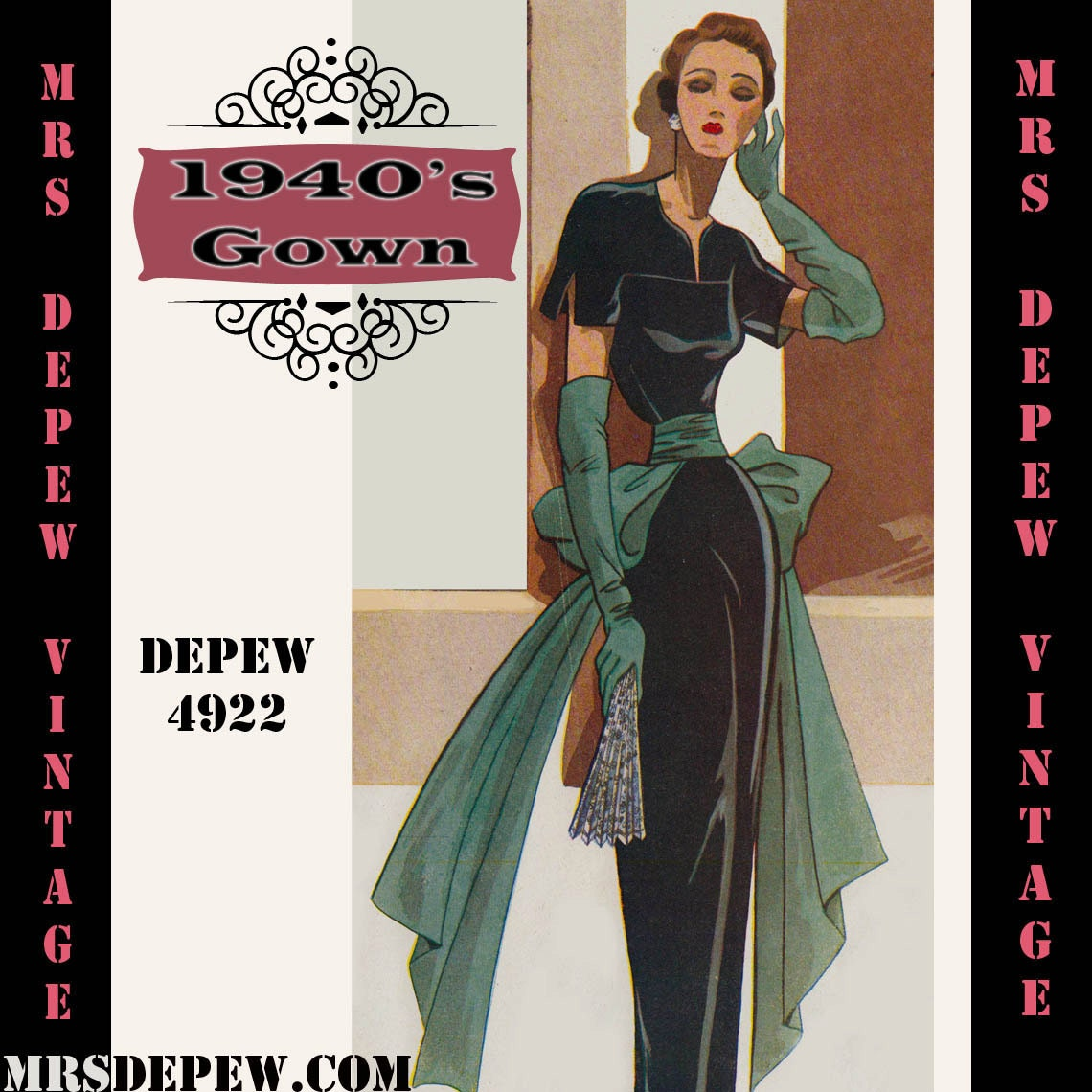 1940s Dressing Gown: Vintage Sewing Pattern 1940's Cocktail Or Evenning Gown In