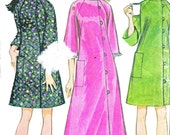 1960s Caftan Pattern McCalls 9013 Mod Side Button Raglan Sleeve Caftan Long or Short Robe Vintage Sewing Pattern Bust 31