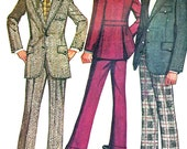 1970s Mens Suit Pattern Simplicity 5161 Mens Two Piece Suit Two Button Sportcoat Flat Front Pants Vintage Sewing Pattern Chest 40 Uncut