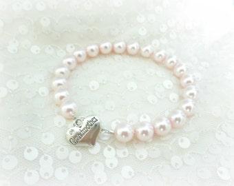 Grandmother Nana of the Bride Pearl Strand Bracelet, Grandma Wedding Gift for Grandparents Memorable Jewelry