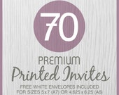 75 Premium PRINTED Invitations on Thick Cover 120lb. Cardstock Paper with Free White Envelopes - 2 invite sizes available
