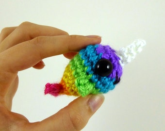 Rainbow Baby Narwhal Amigurumi Crochet Plushie - Purple Face - MADE TO ORDER
