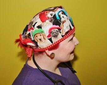 Surgical Scrub Caps, Vet/nurse/doctor/medical, Rockabilly/Retro/Vintage inspired - Puppy dog galore design