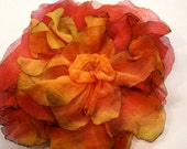 Singed Silk Crepe Flower Brooch in Gold Flame and Coral
