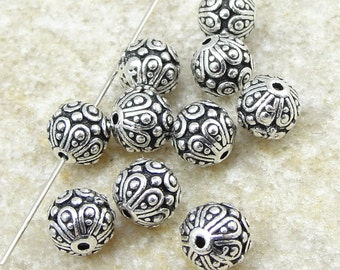 Silver Beads 7mm Round TierraCast CASBAH Beads - Antique Silver Bali Beads Tierra Cast Pewter (P13)