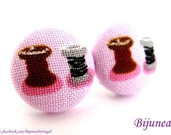 Sewing earrings - Pink Sewing stud earrings - Sewing posts - Sewing studs - Sewing post earrings sf989