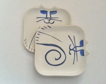 twin Cat plate set of 2: square Hand made porcelain unique whimsical ceramic clay feline art cat lover Pet Resort decor pet sitter gift