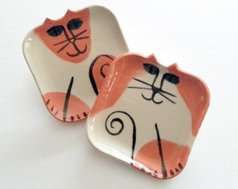 twin Cat plate set 2:  square hand made unique ceramic stoneware clay ready to ship feline art cat lover Pet Resort decor