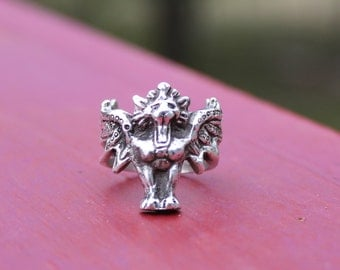 Sekhmet Winged lion Ring in Sterling Silver