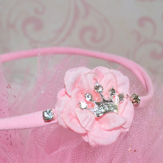 Princess Tiara Headband For Baby Girl Pink Crown Rhinestone Newborn Preemie Infant Baby Shower Gift Photo Prop Flower Rose Glitter Bling