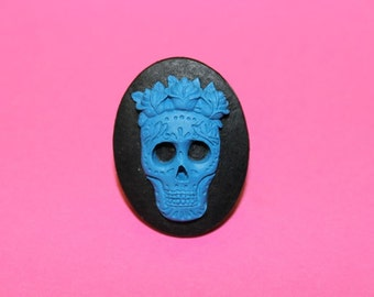 Large Blue Sugar Skull with Flower Crown Cameo Ring