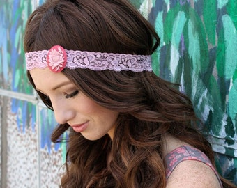 Large Maroon Rose Cameo Lace Headband