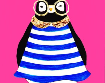 Hipster Penguin With Striped Dress and Glasses Print