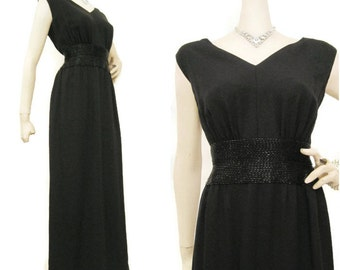 60s Gown Vintage Black Crepe with Beaded Waistline Evening Formal Dress Miss Bonwit S