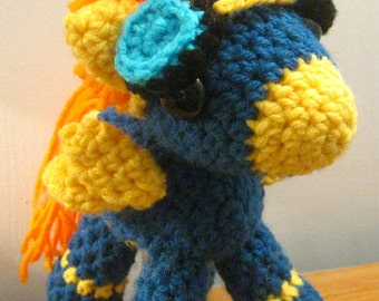 The Wonderbolts: Spitfire in Costume with Cutie Marks - My Little Pony Friendship is Magic Amigurumi Crocheted MLP Plush Doll