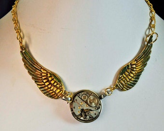 Large wings necklace pendant  vinage jeweled watch steampunk victorian long or short  art sculpture