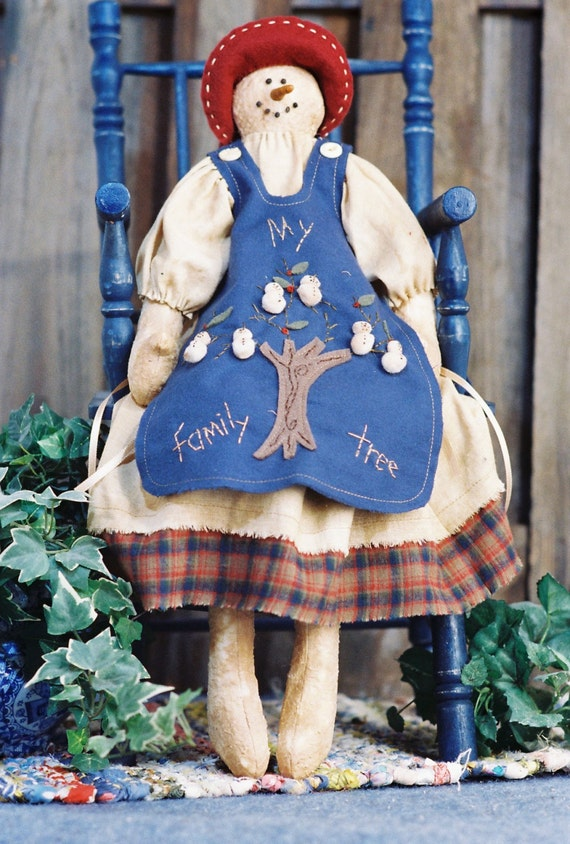 Cloth Doll E-Pattern Holiday Snow Granny with Family Tree Apron