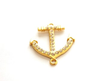 1pc- Matte Gold plated Sail Anchor Connector-38x25mm-(003-005GP)