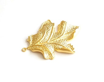 1pc Matte Gold Plated Leaf Pendant-70x50mm (011-007GP)