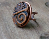 SPIRAL - Adjustable Clay Ring, Copper Tribal Ring, ONE SIZE, Unisex, Brown Ring, African Ring, Earth Culture Ring, Light Weight