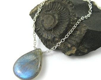 Labradorite Drop Necklace - Sterling Silver Chain