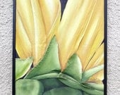 French Sunflower Painting Yellow Bright Large Textured Abstract Fiber Wall Hanging in Yellow & Green - 50% SALE