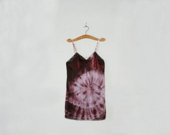 vintage 80s Festival Slip Dress Upcycled Hand Dyed Plum Perfection Tie Dye