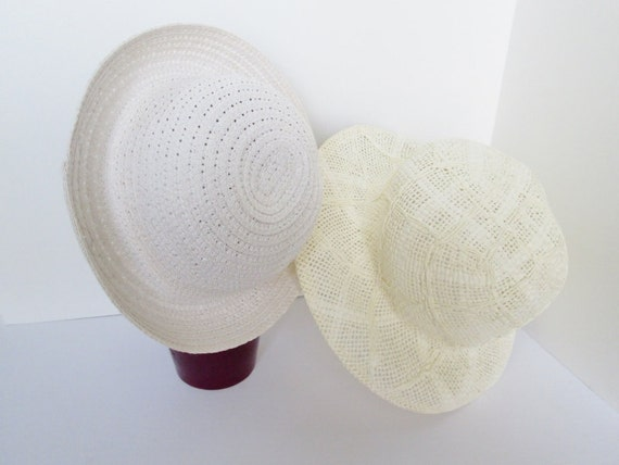 Vintage Paper Hat | White Cream Straw Hat | Two Vintage Brimmed Sun Hats | Summer Hipster Indie