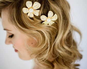 Gold or Silver Bridal Crystal and Pearl Flower Hair Pins Pair