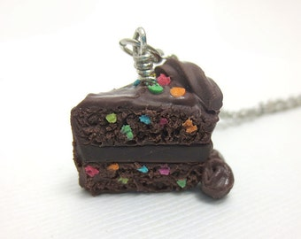 Chocolate Birthday Cake Slice Necklace, Miniature Food Jewelry, Polymer Clay Food Jewelry
