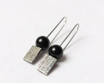 Black Onyx earrigns, Sterling silver, earrings with black patina, texture, geometric, rectangular, dangle, medium
