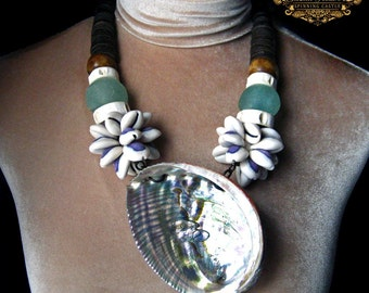 Abalone Shell Statement Necklace Cowrie Bone African Bead Talisman Teal Blue Green Glass Boho Tribal Reiki Pagan Amulet by Spinning Castle