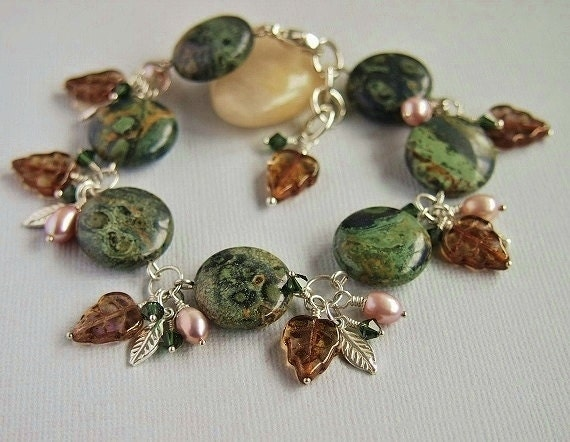 Charm Bracelet,Freshwater Pearls,Gemstone,Swarovski, Green,Hand Wired,Jasper, Sterling Silver - FOREST JEWEL