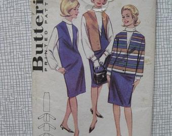 """1960s Jumper Dress, Blouse & Jacket - 36"""" Bust - Butterick 3183"""