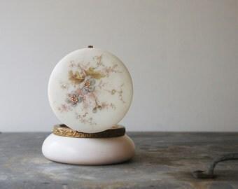 Vintage Wavecrest Glass Box, Powder Jar, Victorian Dresser Piece, Hair Receiver, Wave Crest, C.F. Monroe, Beaded Flowers