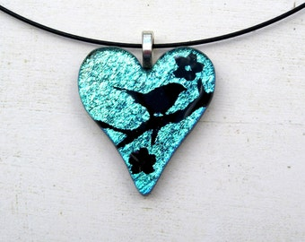 Bird Necklace | Heart Jewelry | Fused Glass Pedant | Teal Blue Purple | Wedding Gift Idea | Woman's Gift | Glass Fusion | Handcrafted Art