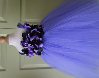 Flower Girl Dress, Tutu Dress, Photo Prop, Lavender Purple and Black, Flower Top, Tutu Dress