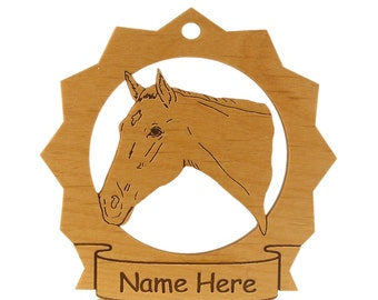 Thoroughbred Head 2 Horse Wood  Ornament 088310 Personalized With Your Horse's Name