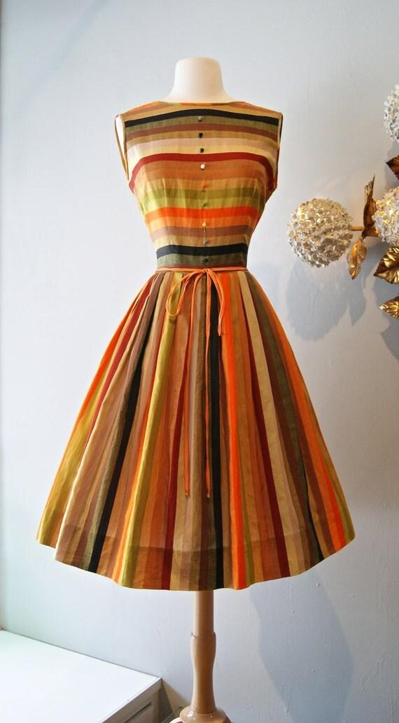 50s Dress Vintage 1950s Autumn Striped Twins Cotton Dress