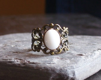 SALE 30% OFF White glass antique brass filigree ring