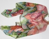 ORANGE HIBISCUS Silk Wrap Original Hand Painted Hibiscus Floral Flowers Botanical Summer MOTB Wedding Silk Siren SilkSiren.com Lynn Meek