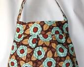 Women Bag, Handmade Shoulder Bag Bloom in Bark, Everyday Bag, Diaper Bag, Travel Bag, Joel Dewberry Fabric Bag, Ready to Ship - Clearance