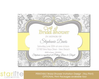 Yellow + Gray Bridal Shower Invitation, Grey Damask Yellow Bridal Shower Invitation, Printable Shower Invitation, Printed Invitations