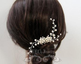 Ivory Pearl Rhinestone Floral Vine Bridal Hair Comb - Wedding Hair Combs Bridesmaid Comb Bride Comb Hair Accessories H20