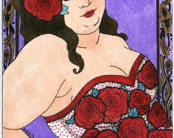 Sav rose corset 5x7 art print Fat Girl BBW