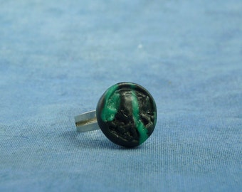 Black Marble Cthulhu Ring, Polymer Clay Lovecraft Jewelry